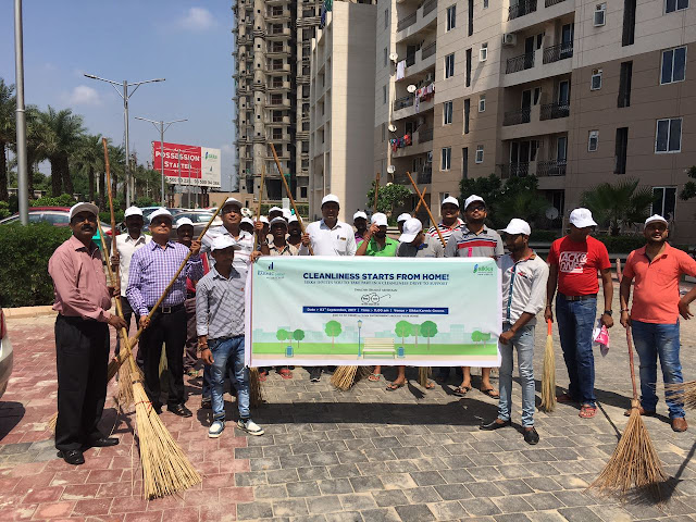 Residents at Sikka Karmic Greens geared up for the cleanliness drive