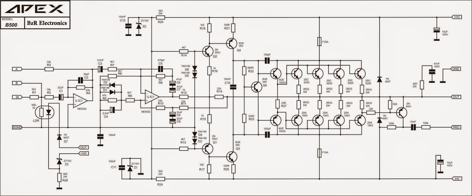 Schematic Circuit Forward amplifier 500 watt ...