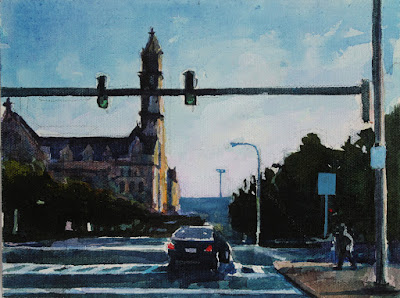 A painting of the intersection of Ellicott and North Division in downtown Buffalo ny.