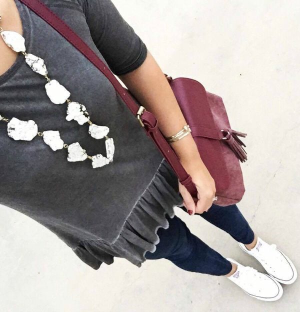 peplum top, converse shoes