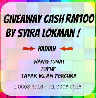 Giveaway Cash RM100 By Syira Lokman Banner