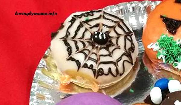 Halloween spider web doughnut design