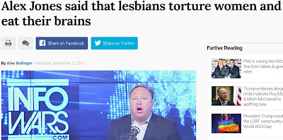 screen cap of Alex Jones in his studio with his mouth hanging open, accompanied by a headline reading: 'Alex Jones said that lesbians torture women and eat their brains'