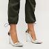 Pantofi cu toc inalt eleganti argintii din piele eco lacuita ieftini