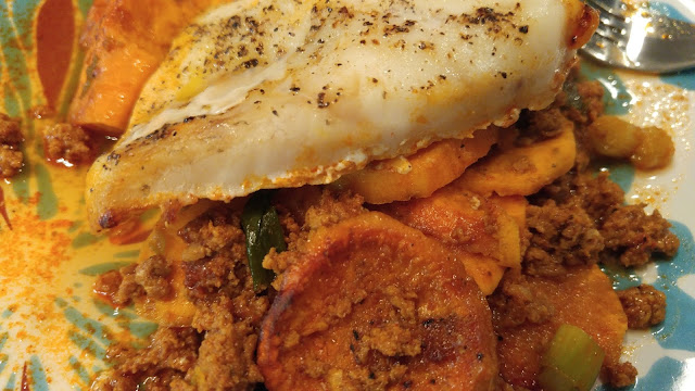 Baked Cod and Chorizo with Sweet Potatoes