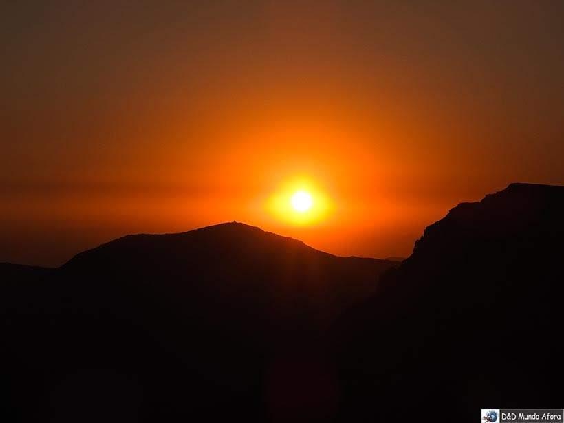 Pôr do sol no passeio Sunset no Valle Nevado