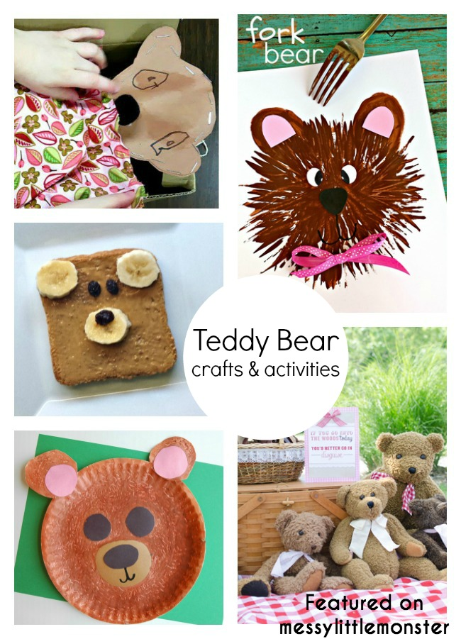 teddy bear themed art craft and activity ideas for kids