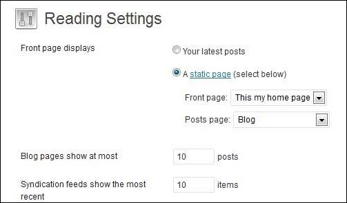 wordress setting homepage