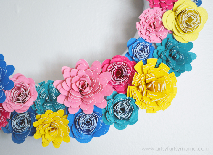 Paper flower wreath artsy fartsy mama paper flower wreath tutorial at artsyfartsymama mightylinksfo