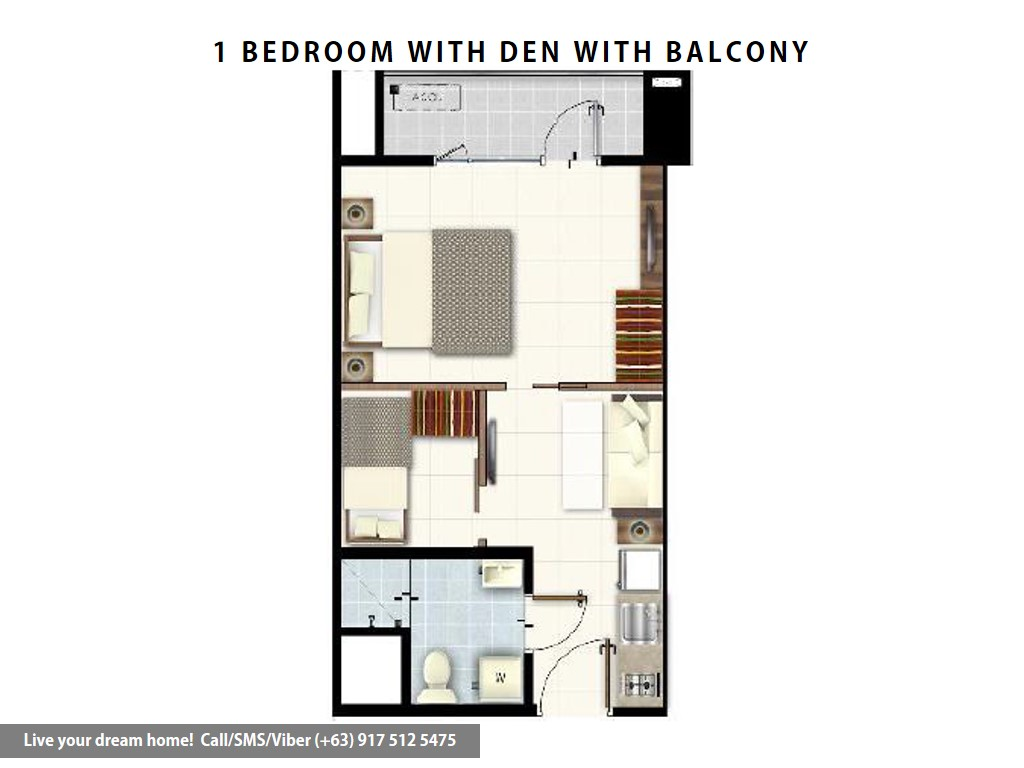 Floor Plan of SMDC Red Residences - 1 Bedroom With Balcony With Den | Condominium for Sale Chino Roces Makati City