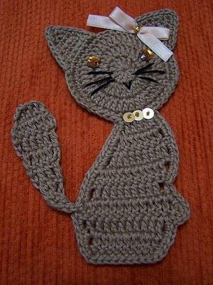 Аппликации крючком кот