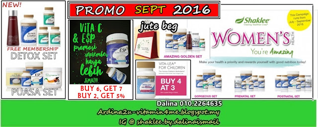 Promosi SHAKLEE SEP 2016. ESP, Vita C SR, Vitalea for Children, Women Health Set (Pranatal, Postnatal, Gorgeous, Amazing Golden Set), Detox Set, Puasa Set