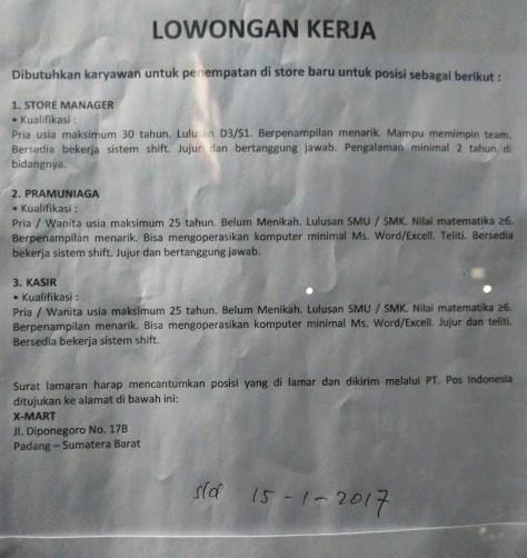 Lowongan Kerja di Padang – X-MART – 3 Posisi (Januari 2017)