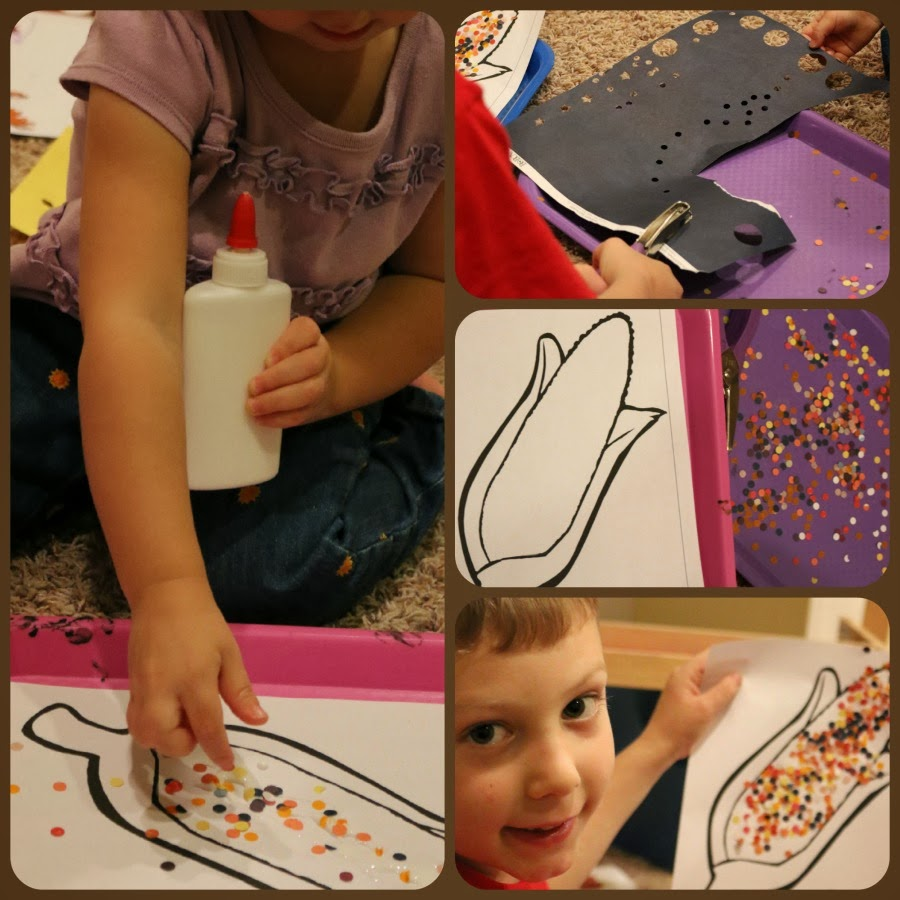 fine motor skills indian corn thanksgiving craft for kids
