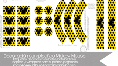 Mickey mouse decoraciones de cumpleaños para imprimir