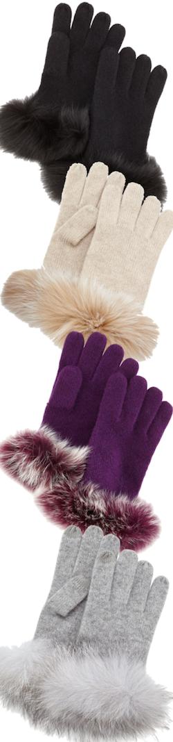 Sofia Cashmere Cashmere fur cuff gloves