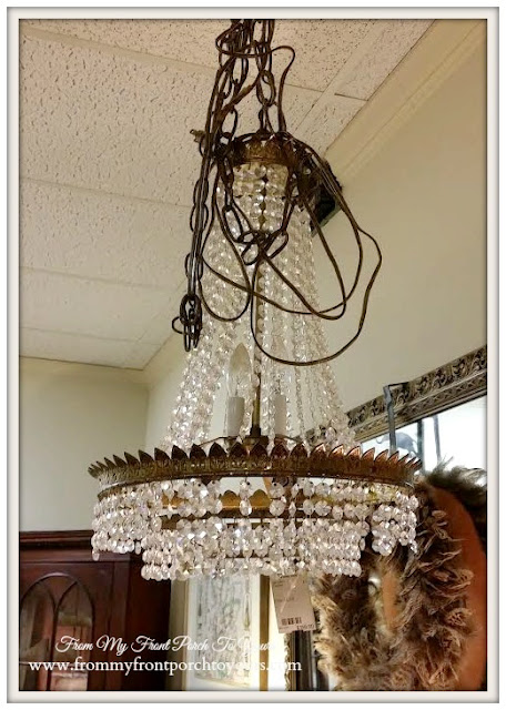Antique Crystal Chandelier-Basket Chandelier-Georgia-The Savvy Shopper-Antique Shopping- From My Front Porch To Yours