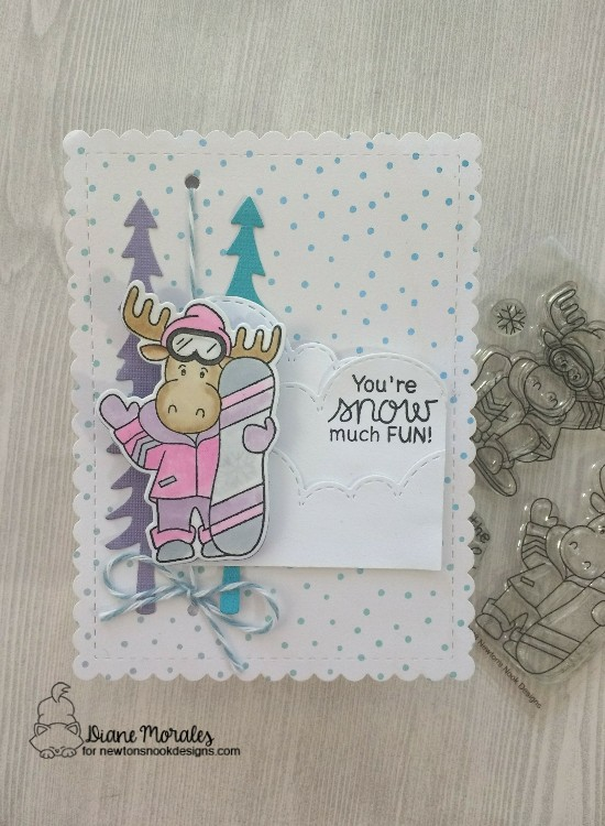 You're snow much fun by Diane features Moose Mountain, Forest Scene Builder, Sky Borders, and Frames & Flags by Newton's Nook Designs; #newtonsnook