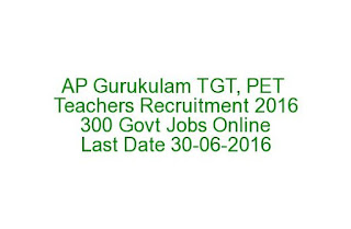 Tribal Welfare Andhra Pradesh Gurukulam TGT, PET Teachers Recruitment 2016 300 Govt Jobs Online Last Date 30-06-2016