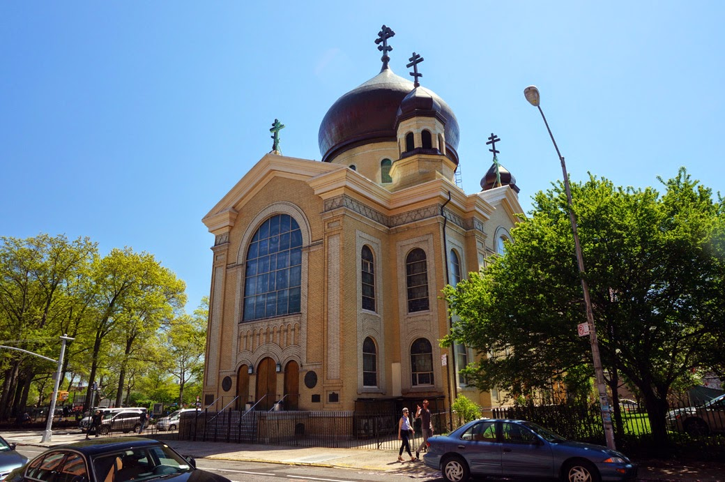 Looking at main entrance of the Russian Orthodox Cathedral in Williamsburg