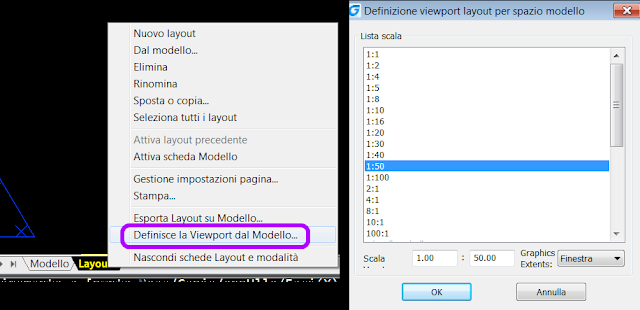 il comando è anche richiamabile tramite click DX sulla linguetta del layout