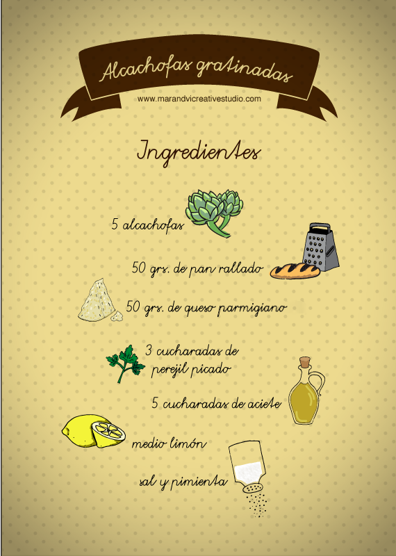 Alcachofas gratinadas: ingredientes