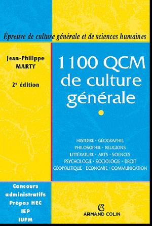 Livre : 1100 QCM de culture générale , Jean-Philippe Marty