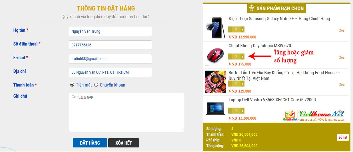 Form giỏ hàng và đặt hàng qua mail Blogspot