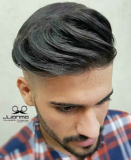 Long top Shaved Men With Backside Comb over
