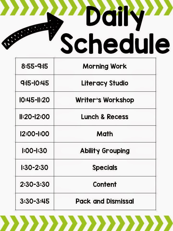 classroom schedules- primary education schedule