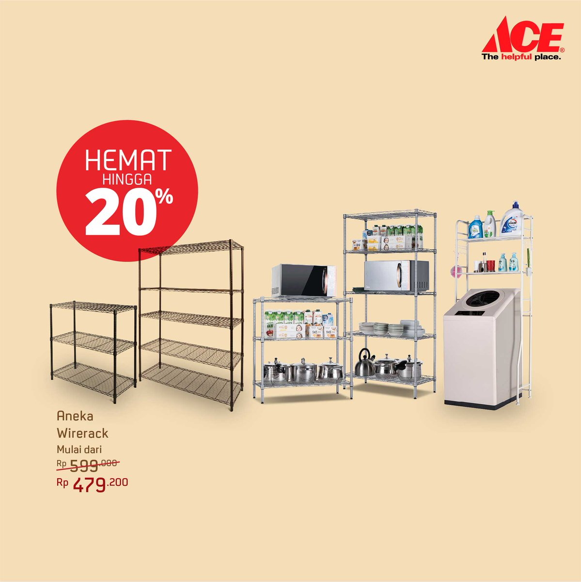 AceHardware - Promo Diskon s.d 20% Aneka Wirerack Krisbow dan Masterspace