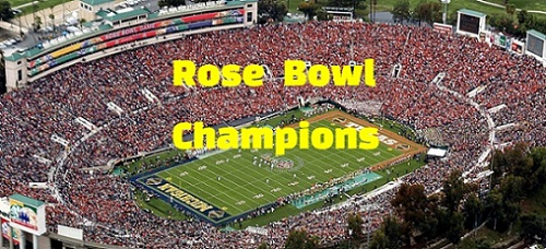 rose bowl game, stadium, results, scores, champions, winners, history, list, by year.