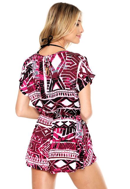 Moda Vestido Beautty Estampada Roxo/Preto