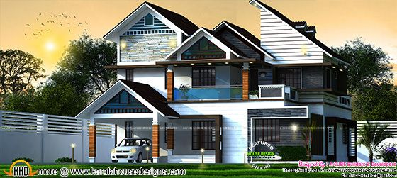 Slanting + sloping roof 2869 sq-ft home