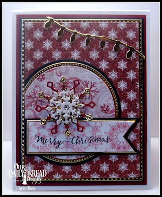 Our Daily Bread Designs, Merry and Bright, Snowflake Season Paper collection, Snowflake Crystals Dies, Double Stitched Rectangles, Pierced Circles dies, Circles dies, designed by Chris Olsen