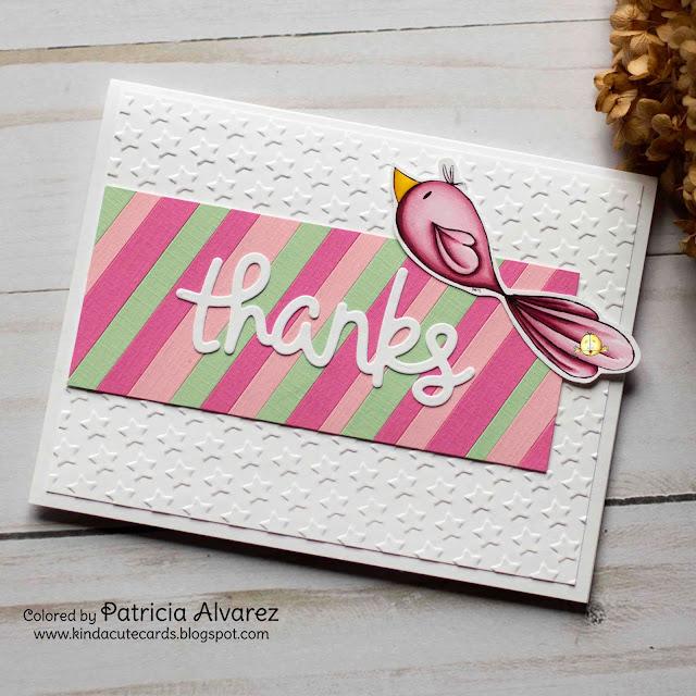 handmade card using lovebird digital stamp from Kinda Cute by Patricia Alvarez