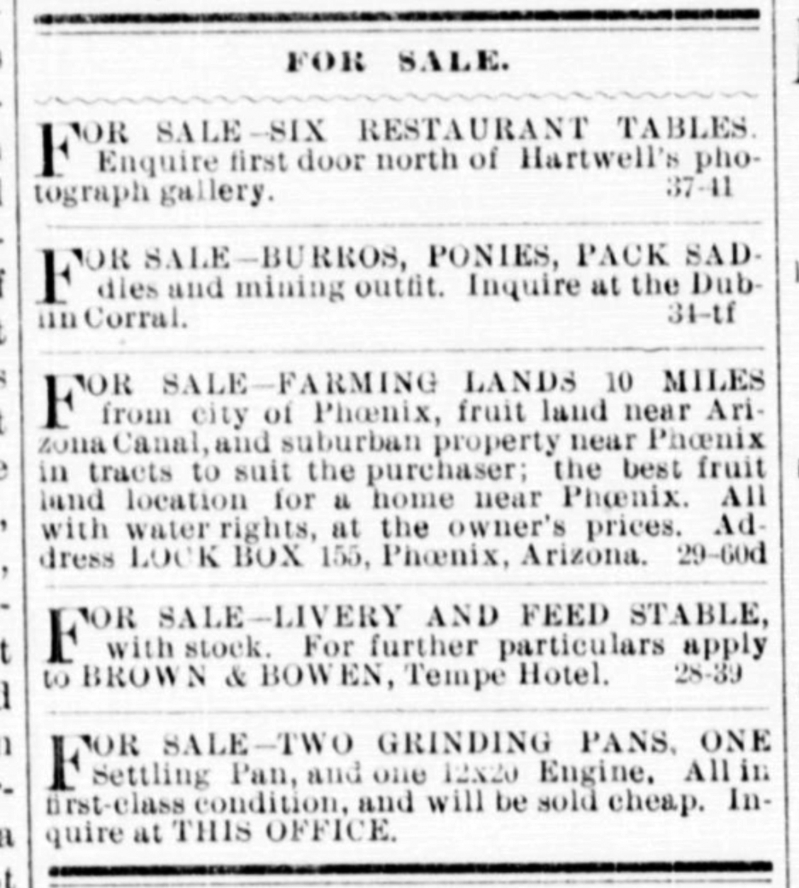 History Adventuring: Looking at For Sale ads in 1890 Phoenix, Arizona