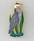 blue heron pin brooch fine enamel