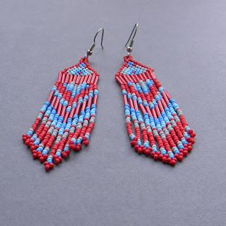 купить серьги из бисера в этническом стиле украшения из бисера цена магазин