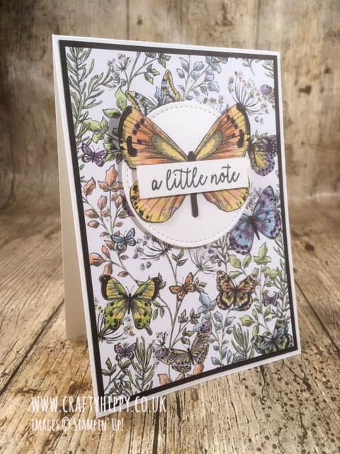 Simple handmade butterfly card created using the Botanical Butterfly DSP by Stampin' Up!