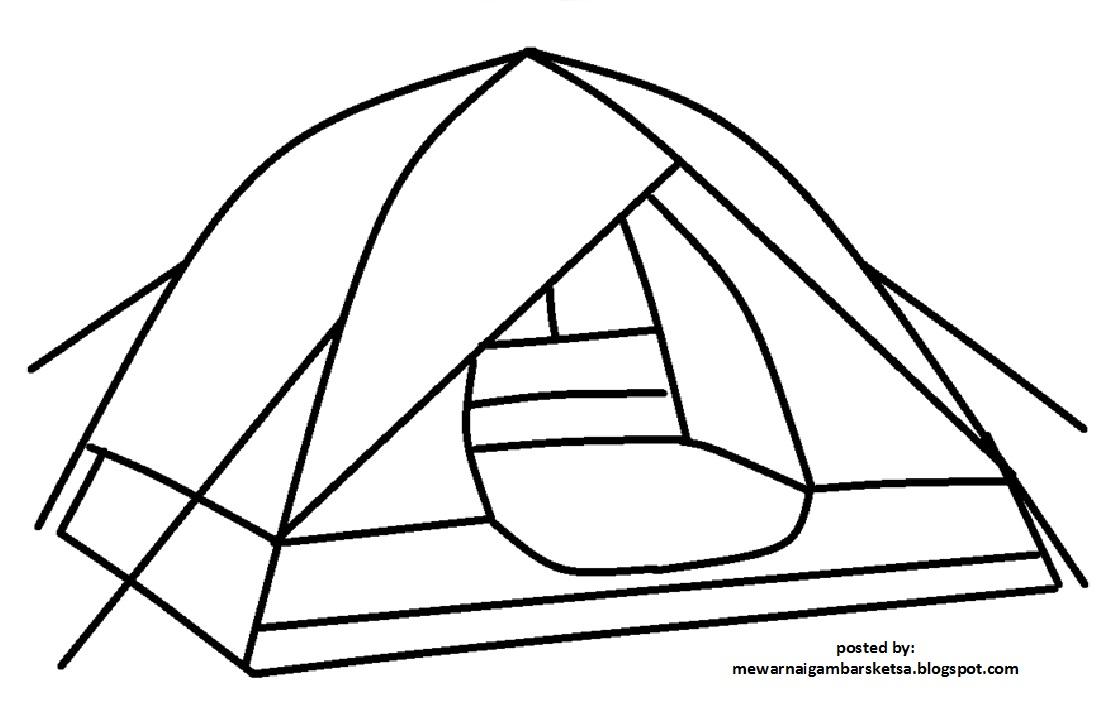 Mewarnai Gambar Tenda Pramuka Anak