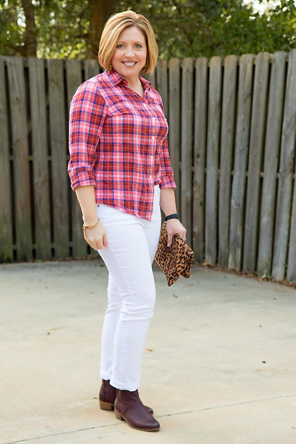 plaid shirt, white jeans, leopard clutch