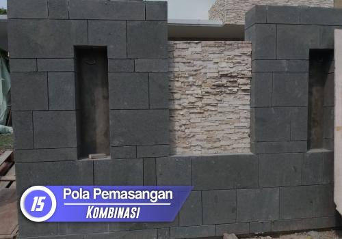 pemasangan batu alam pola kombinasi
