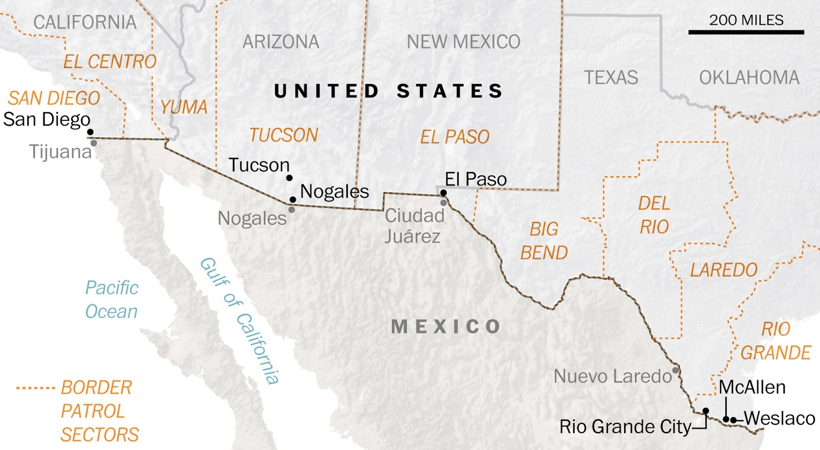 The Rural Blog Initial Border Plan Calls For Just Miles Of - 100 miles on map of us