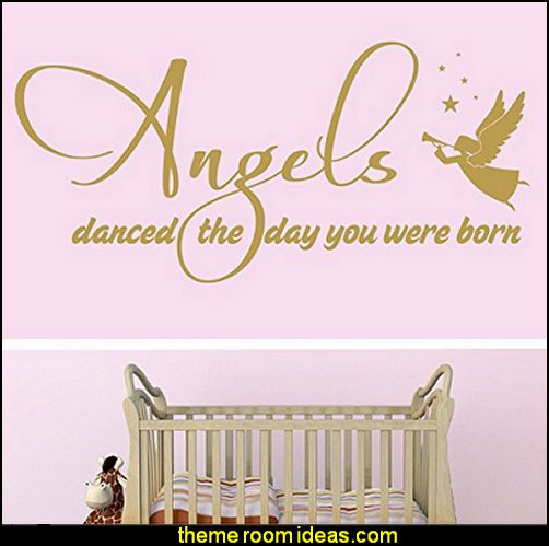 Angels Danced The Day You Were Born - girl's boy's bedroom playroom nursery