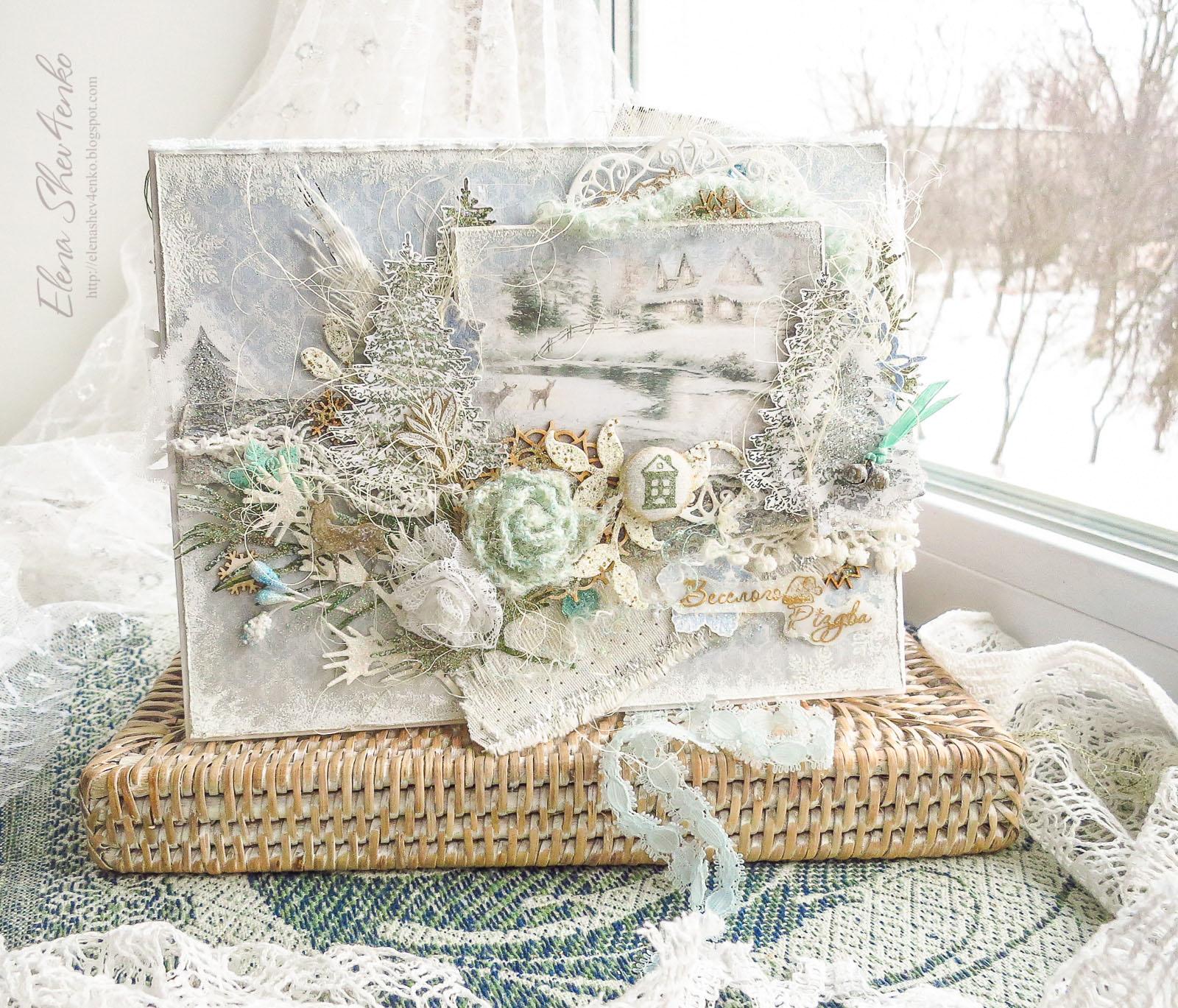 зимняя открытка, скрапбукинг, кардмейкинг, олени, новогодняя открытка, різдвяна листівка, cardmaking, winter
