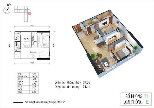 Thiết kế căn hộ số 11 tòa CT2 Eco Green City