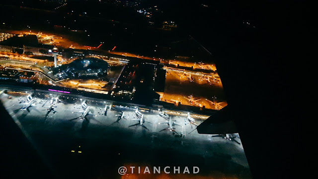 View of Changi Airport from airplane window.  It was suppose an evening flight but got delayed for more than 5 hours till the night. What a memories