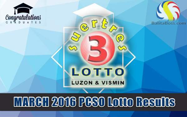 Image: March 2016 PCSO Suertres Lotto