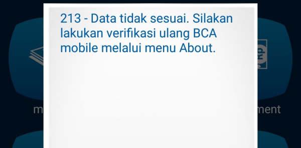 Verifikasi Ulang BCA Mobile Data Tidak Sesuai